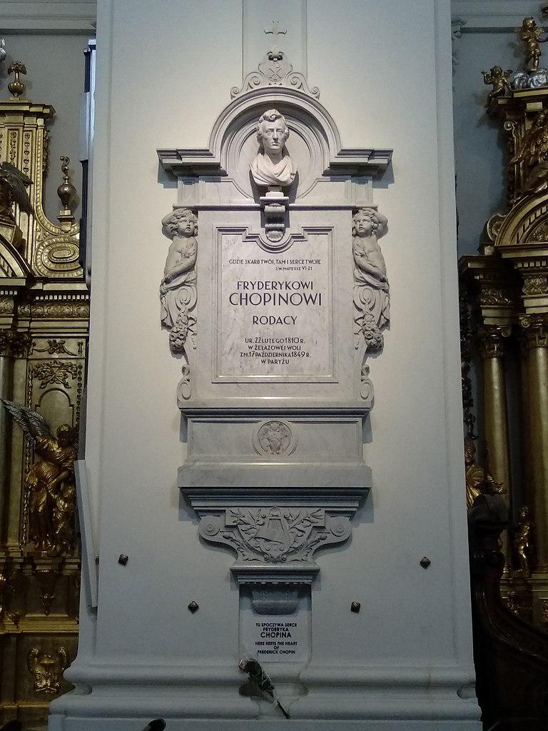 Epitafium nad sercem Chopina w Bazylice Świętego Krzyża w Warszawie. Fot. Zala [CC BY-SA 4.0 (https://creativecommons.org/licenses/by-sa/4.0)]