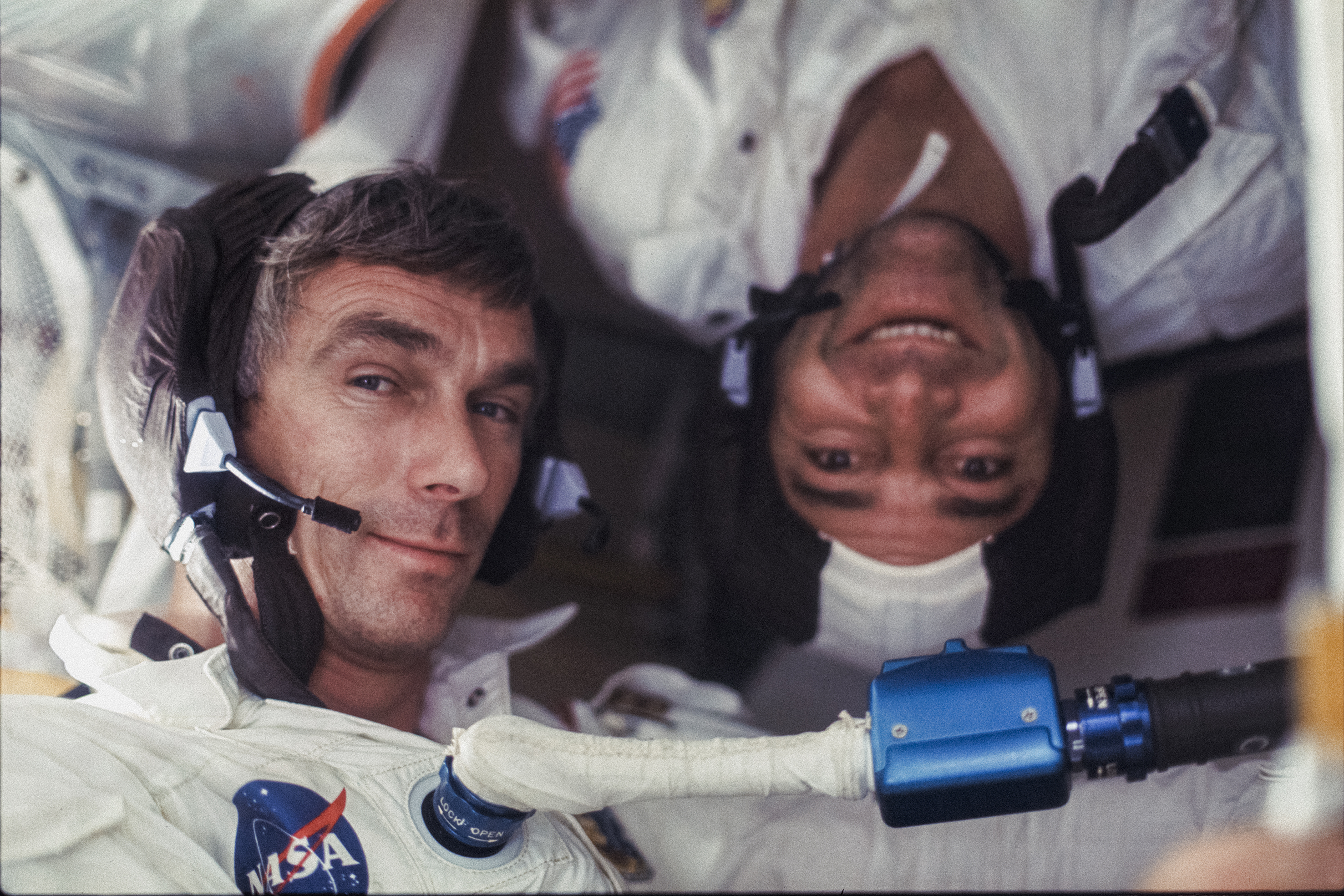 "Gene Cernan and Ron Evans (upside downi) during Apollo 17 mission, 7‒19.12.1972, Harrison ""Jack"" Schmitt"