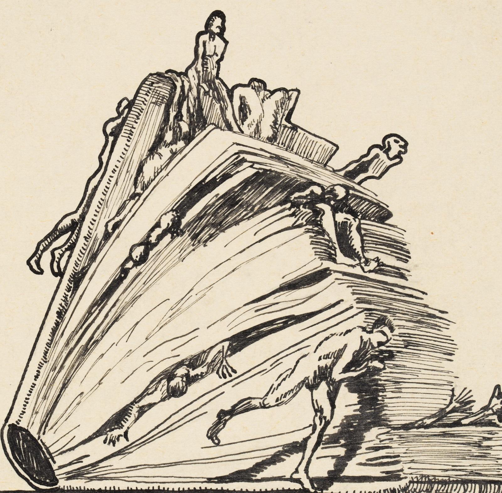 Ilustracja: H. Beck, Starają się ocalić z tłoczącej ich księgi Historii, ze zbiorów Żydowskiego Instytutu Historycznego im. E. Ringelbluma.