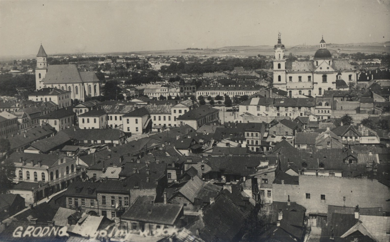 Panorama Grodna, ok. 1935. Fot. autor nieznany - Biblioteka Narodowa, Poczt.13689 [1], Domena publiczna