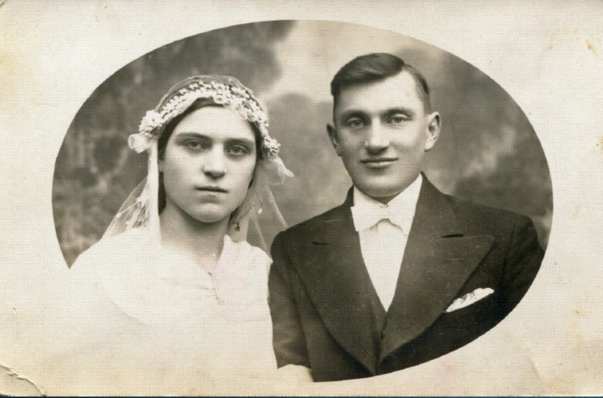 Katarzyna Kolenda i Władysław Kwacz, Lipniszki k. Grodna, 31 stycznia 1939, fotografia ślubna