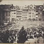 Procesja z relikwią św. Wiktora Męczennika na Krakowskim Przedmieściu. 5 czerwca 1859