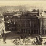 Widok z wieży kościoła św. Krzyża w kierunku pałacu Staszica ówczesnej siedziby Akademii Medyko-Chirurgicznej, 1861