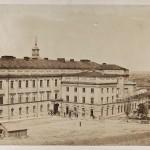 Warszawa, Zamek Królewski, południowe skrzydło z oficyną przy Bramie Grodzkiej oraz pałac Pod Blachą, 1861