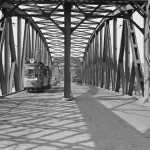 Most Kierbedzia, tramwaj linii 6 na Bródno, Warszawa 1934