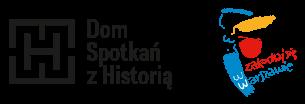 obrazek pokazujący logo DSH z graficznym elementem Zakochaj się w Warszawie