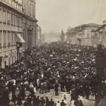 Procesja w święto Bożego Ciała na Krakowskim Przedmieściu przed kościołem św. Krzyża. Warszawa, 30 maja 1861